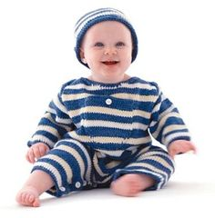 Free Knitting Pattern kpl-babySet Striped Baby Set : Lion Brand Yarn Company
