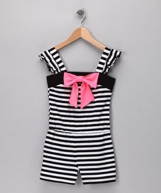 Take a look at this Black & White Stripe Romper - Girls by Lily Bleu on #zulily today!