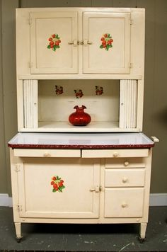 Adorable Antique Hoosier Cabinet with Strawberry Stencils (SOLD)