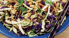 Asian Rice Noodle Salad | Bonus meal: If you have leftover coleslaw mix, sauté it with a little garlic and ginger, and add a protein for a faster-than-takeout mu shu.