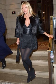 Looking good: Kate Moss appears finally to have put her wild days behind her after becoming teetotal, as the model looked fresh-faced and composed as she left her birthday party Kate Moss Style, Miss Moss, Model Look, All Black Everything, Fresh Face, Celebs, Celebrities, Street Style Women, Supermodels