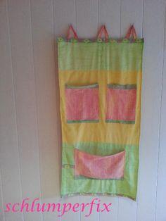 Wandutensilo aus Bettwäsche / Organizer made of bed linen / Upcycling