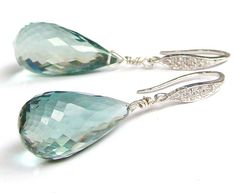 SALE Blue Green Aquamarine Stone Earrings  by VeraidaGifts on Etsy, $64.00