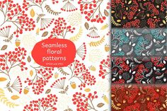 Seamless floral patterns Graphics Seamless floral patterns includes:arhive with 5 seamless patterns in different colors (in vector EP by whynot