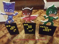 cartonati pj masks Pjmask Party, Sleepover Party, Pj Mask, 3rd Birthday Parties, Birthdays, Christmas Ornaments, Holiday Decor, Fun, Masks