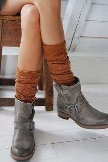 Long socks and boots..