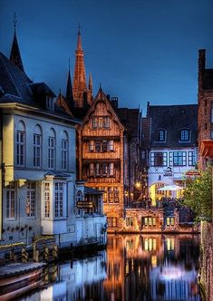 Bruges, Belgium Canals and old buildings that are great for creating images, especially at night!