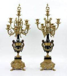 Pair Bronze And Marble Candelabra