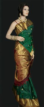 Never out of fashion, lovely green traditional as it can get Kanchi saree