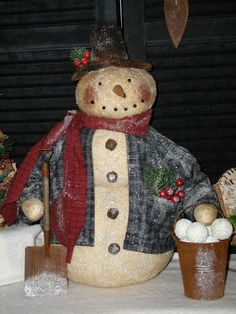 Primitive Folk Art Snowman Doll~Rusty Ol' Shovel~Rusty Ol' Bucket Of Snowballs~ #NaivePrimitive #SharonHall