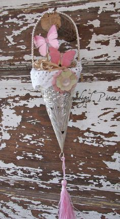 Shabby Chic Victorian Pressed Tin Cone/ Tussie Mussie with Butterflies Papillon
