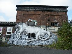 Phlegm cat/ manatee 2010 greets rail travellers to Sheffield everyday  #socialsheffield #sheffield
