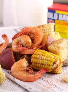 Old Bay Shrimp Boil - Cooking is Messy - - Old Bay Shrimp Boil is a simple one pot dish with shrimp, potatoes, corn and sausage. Perfect for a bbq, party, or end of summer dinner. Shrimp Boil Recipe Old Bay, Cajun Shrimp Recipes, Seafood Boil Recipes, Shrimp Boil Party, Boiled Shrimp Old Bay, Steamed Shrimp Old Bay, Shrimp Bake, Shrimp Meals, Crawfish Recipes