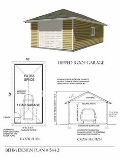 Two car garage plan 480 1ft with flat roof and side porch for 2 car deep garage