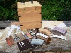 Reproduction of what might be in a Norse woman's sewing kit.