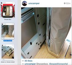 """Shower Box"" by Urocamper.  A shower that deploys from a drawer.  Designed for a 4x4 Mercedes Sprinter conversion"