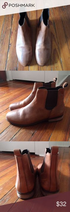 Hawkins mcgill pull up leather chelsea boot Beautiful tan pull up leather upper, stacked block heel with rubber outsole. Worn only a few times my husband is cleaning out his closet. Urban Outfitters Shoes Boots