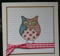 Another owl stamped then embossed, like this technique looks like canvas