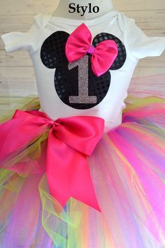 Minnie Mouse Birthday Tutu Set order or follow us on Facebook ; www.facebook.com/... #birthday #colorfultutu #minneiemouse #styloboutique