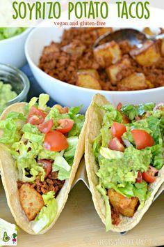 Soyrizo potato tacos (made with soy chorizo) are vegan and gluten-free . - Soyrizo potato tacos (made with soy chorizo) are vegan and gluten-free. Chorizo Recipes, Vegan Mexican Recipes, Vegetarian Recipes, Healthy Recipes, Keto Recipes, Mexican Desserts, Vegetarian Italian, Vegetarian Tacos, Salads