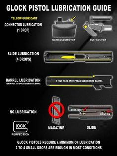 Glock Lubrication:  Here is a guide on how to properly lubricate your Glock.  https://www.facebook.com/TotalDefenseMN