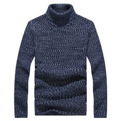 Sale 29% (38.09$) - Mens Winter Warm Turtleneck Knitted Sweater Casual Slim Fit Pullover Sweater
