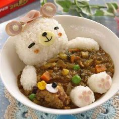 Bath time bear curry I would not eat this but it is so darn cute!Bath time bear curry I would not eat this but it is so darn cute! Cute Food, Good Food, Yummy Food, Bento Recipes, Baby Food Recipes, Bento Ideas, Cute Bento Boxes, Food Art For Kids, Kawaii Bento