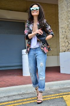 Floral Jacket with Boy Friend Jeans