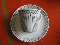 Vintage Coffee Cup Saucer Swedish Spinett Made in Upsala Ekeby Elegant Design Uppsala, Vintage Coffee Cups, Stig Lindberg, Cup And Saucer, Mid Century, Pottery, Plates, Ceramics, Dishes