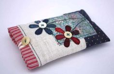 Fabric phone case, iphone case, handmade phone case, phone sleeve, floral phone case, vintage fabric, cotton, linen, bunting and agapanthus. on Etsy, $28.63 AUD