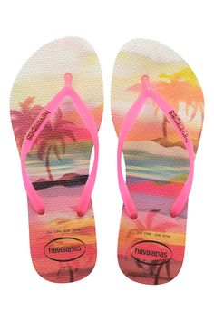 b34af42d0a8c8e The Havaiana Slim features a sleek pink strap and Havaianas logo with their  signature textured footbed