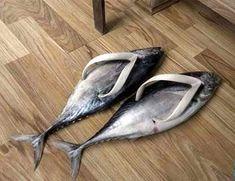 Nep-Vissen als slippers