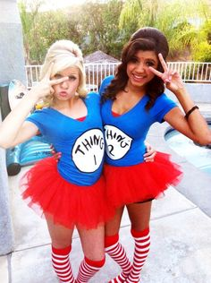 Thing 1 & Thing 2 Halloween Costume can do with my bff! :D 2014 Halloween Best Friend Halloween Costumes, Hallowen Costume, Cute Costumes, Halloween Kostüm, Halloween Outfits, Group Costumes, Google Halloween, Halloween Costumes With Tutus, 2 People Costumes