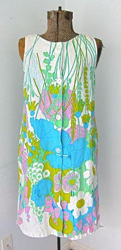 Vintage 1960's Wild Pink Blue Flower Tunic Brady Pop Art Dress M | eBay