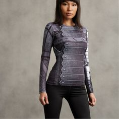 Winter Soldier Inspired 3D Printed Compression Long Sleeves Woman T-shirt  #WinterSoldier #Inspired #3D #Printed #Compression #Long #Sleeves #Woman #T-shirt