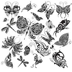 Free Digi Stamps | Butterflies. This reminds me of some drawing in an embroidery transfer reference book. A good source of ideas. Used to use this books for kids inspirations in 4-H art classes
