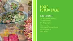 Summer recipes that save electricity. Pesto Potatoes, Baby Potatoes, Basil Leaves, Salad Ingredients, Tv Commercials, Summer Recipes, Potato Salad, Beef