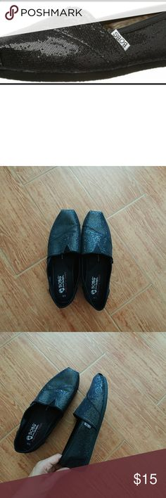 Bobs black glitter shoes Black glittery shoes, great condition worn once bobs from stretchers Shoes Flats & Loafers
