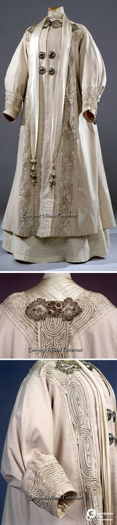 Coat, Italian, ca. 1910. Ivory wool and silk satin with soutache of white linen, embroidered applications, and silk cord. Photos: Marcello Bertoni. Costume Gallery of the Pitti Palace via Europeana Fashion