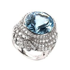 Garrard Aquamarine Diamond White Gold Ring | From a unique collection of vintage cocktail rings at https://www.1stdibs.com/jewelry/rings/cocktail-rings/