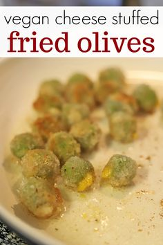 Now here's a delicious vegan appetizer! Hand stuff olives with non-dairy feta cheese. Or use store-bought stuffed olives to save a step! Then bread Olive Recipes, Beef Recipes, Vegan Recipes, Recipies, Vegan Appetizers, Appetizer Recipes, Dinner Recipes, Vegan Feta Cheese, Stuffed Olives