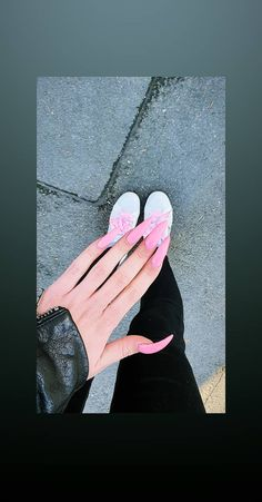 #pinknails #stilettonails #babypink #longnails Stiletto Nails, Long Nails, Polaroid Film, Edgy Nails