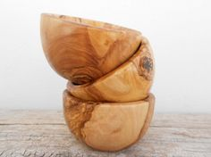 Handcrafted Wooden Bowl 4-inch Diameter, Hand Carved Olive Wood Rounded Rustic Bowl by Zitouna Wood on Gourmly