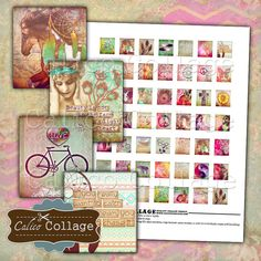 Boho Chic, Boho Collage Sheet, Scrabble Tile Images, Digital Images, Digital…