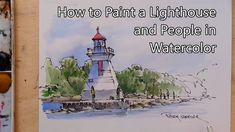 How to paint a Lighthouse and People in Watercolor. Line and Wash. Peter... Watercolor Video, Pen And Watercolor, Watercolour Tutorials, Watercolor Techniques, Watercolor Landscape, Watercolor Paintings, Watercolor Beginner, Painting Tutorials, Peter Sheeler