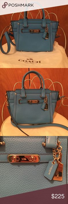 Authentic coach swagger 21 brand new😄🌷 Gorgeous blue bag brand new without tags bought it for myself but it's too small gorgeous bag for any occasion a must have for the coach lover😄💜 Coach Bags Crossbody Bags