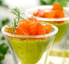 Avocado, Lime and Dill Creme with Smoked Salmon. Anything served in a martini glass is good!!!!!! :)