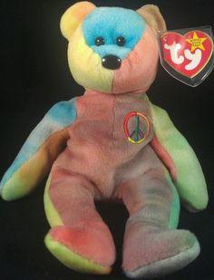 Ty Beanie Baby 'Peace' Multi Colored Teddy Bear Tye Dyed Collectible   eBay Peace Beanie Baby, Beanie Babies, Ty Beanie, Tye Dye, Teddy Bears, Attic, Dinosaur Stuffed Animal, Community, Animals