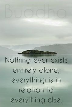 Nothing ever exists entirely alone; everything is in relation to everything else. Buddha.  Click on this image to see the biggest collection of famous quotes on the net!