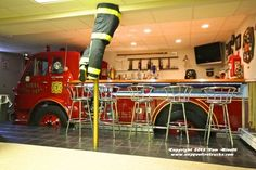 1963 fire truck converted to a smokin' hot man cave bar.   Shared by LION